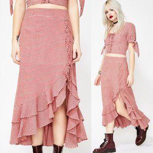 Red Gingham Lace Up Ruffle High Waist Midi Skirt